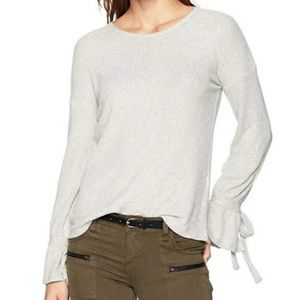 Lucky Brand Gray Tie Sleeve Pullover Top